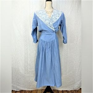 Vintage Blue White Lace Midi Length Dress Size 10